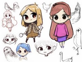 chibis and birds by Selim-C