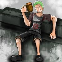 Zoro Chillin by Spilled-Sunlight