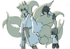 Nine tails and kids by AmanoChio