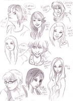 Face study doodles 01 by ahowa