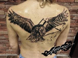 Owl tattoo by Drone80