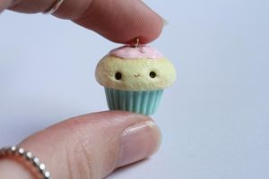 Pink and Mint Kawaii Clay Cupcake Charm by xoxRufus