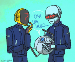 daft punk meets wheatley by dandeliar