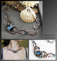 Rhiamon II- wire wrapped copper necklace by mea00
