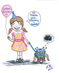 Little Girl with a Pet Monster by AnAsianPerson
