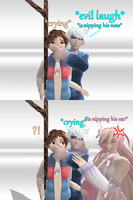 MMD Comic - Revenge ! Miki is nipping Jack's ear by JackFrostOverland
