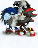 Shadow vs Sonic by limirina