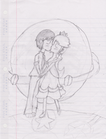 School Drawing: Their First Kiss by iHeartRosalina101