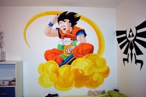 Goku and Gohan on my wall by TamiiBe