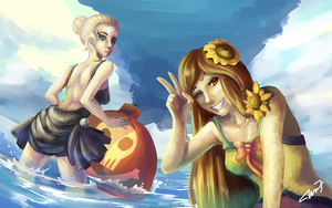 Commission: Pool Party Leona and Diana by TheKiwiSlayer