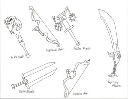 Zodiac Weapons Concepts 7-12: GS by BlackCarrot1129