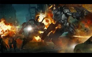 Mech Battle by Jessada-Art