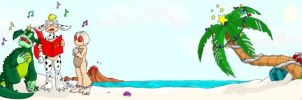 Unlikely Trio on Beach by Tomecko