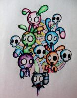 Zombie Bunnys by MyLittleDeathWish