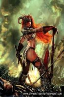 Red-sonja-with-her-sword-and-headgear-photo-u1 by talha122