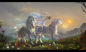 Misty meadows - dancing in the mist by Roiuky