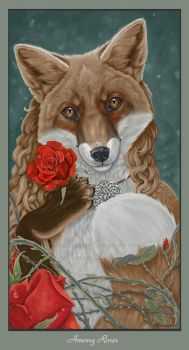 Fox Among Roses by VisionCrafter