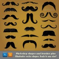 Moustache Potoshop Shapes and Brushes by Jeremychild