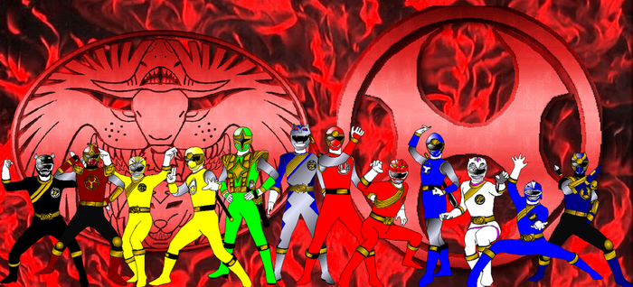 Wild Force Ninja Storm Team-Up for PinkRangerFan by rangeranime