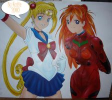 Sailor Moon and Asuka Mural by blammogirl