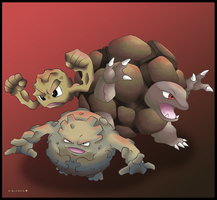 Geodude, Graveler and Golem by Ninjendo