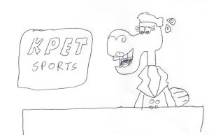 Dorothy Camel at the KPET sports desk by dth1971