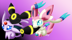 Chibi Eeveelutions 1-Espeon, Umbreon, and Sylveon by Yoko-Uzumaki