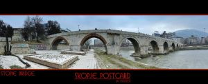 Skopje Postcard,Stone Bridge by mitatos