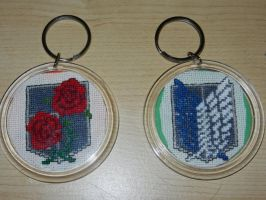 Attack on Titan cross stitch keychains by dottypurrs