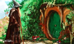 Gandalf Visits Bag End by JoeOliverArt