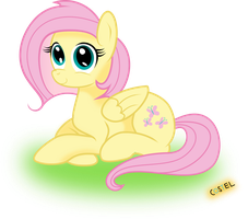 Sitting Fluttershy (Vector) by Constellite