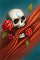 Skull and roses by 13tangerines