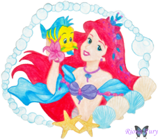 Ariel and Flounder by rionafury