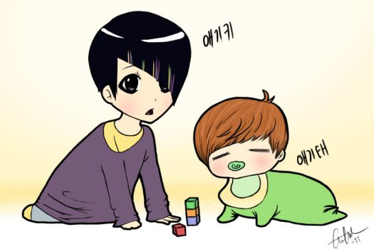 BABY KEY AND BABY TAE. by Tuddles1
