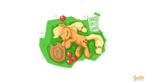 Applejack on Grass 16.9 by mysticalpha