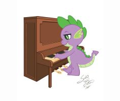 Spike at Piano fanart by neilak20