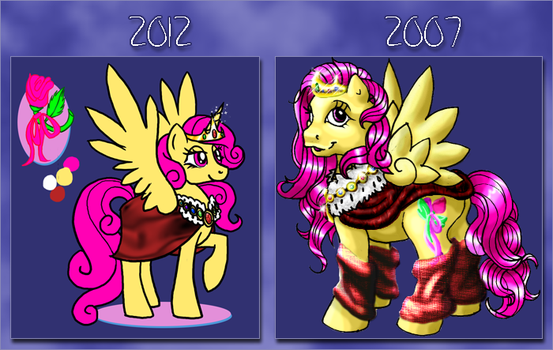 Old vs New- Yellow Rose by Orceh