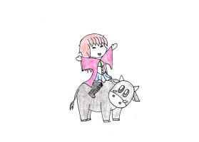 Chibi Me on a Cow by jessie101695