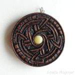 Carved pendant - amber and wood by AmberSculpture