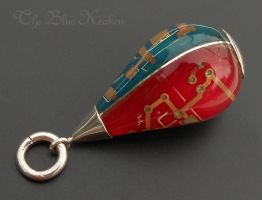 Tri colored tear drop circuit pendant by thebluekraken