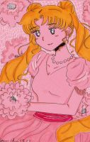 Pink Tone Serena/Usagi Sketch Card by KyrieGlows89