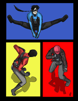 Sketch Practice:  Nightwing, Red Robin, Red Hood by kuri-osity