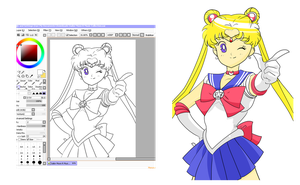 Today I drew Sailor Moon. by JL0G4N