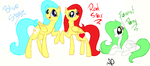 Comission: Blue Star, Red Star and Forest Pony by Azure-Art-Wave