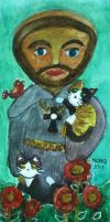 Saint Francis with Cats, Bird and Flowers by MauricioKanno