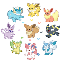 eeveelutions! by duckpup