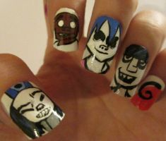 Gorillaz nails :D by henzy89