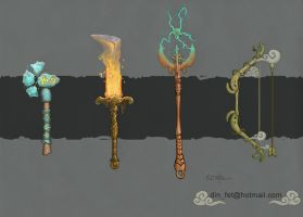 Hand Painted Elemental Weapons Concept by dinfet