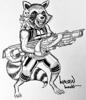 Inktober Day 27: Rocket Raccoon and Baby Groot by WaldenWong