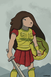 Samantha wearing Greek armour by Campside
